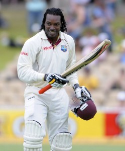 Chris Gayle does a dancehall number to celebrate his 11th test century - Gordon Brooks photo and DigicelCricket.com