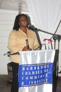 Asst Exec. VP of the B'dos Hotel & Tourism Assoc. Michelle Smith making a point during her talk at Bagatelle