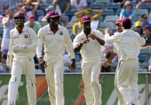 The Windies celebrate the fall of Simon Katich - Gordon Brooks photo and DigicelCricket.com