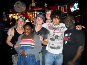 Posing with fans after their energetic show at Bump & Wine - next one is January 4th, 2010