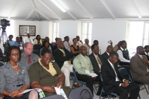 In the gallery at the Nevis Island Assembly on Wednesday
