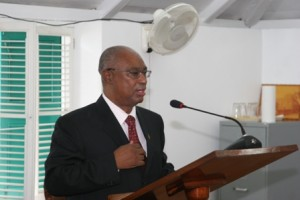 Premier of Nevis Hon. Joseph Parry presents the 2010 Budget at the Nevis Island Assembly