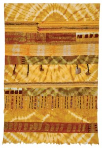 """Ayissa Burnett's """"Morning Sun"""",  a mixed media piece with tie-dye, batik on cotton, and raw silk with leather cord and calabash."""