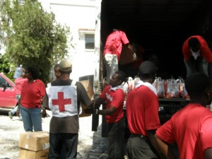 Digicel distributes medical supplies to the Red Cross at the camp