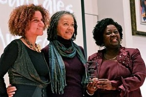 Claire Prieto-Fuller (Center) receives her Lifetime Achievement Award from Hon. Jean Augustine at the CaribbeanTales Youth Film Festival 2010 Gala Launch on January 21st