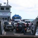 Sea Bridge 2 pulls away from the Cades Bay landing site in Nevis