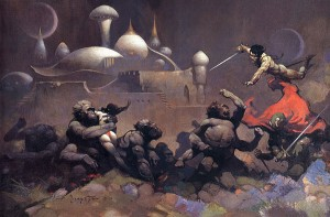 "Frazetta's Mars-scape for the Doubleday edition of ""Gods Of Mars/Warlord Of Mars"" which I read 20 times as a teen"