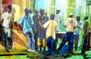 """I just keep thinking of Rembrandt's 'Night Watch' but this is """"Slow Night at the Taxi Stand"""""""