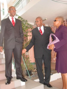 """""""Three Ministers of Health"""" – Current Minister of Health Honourable Marcella Liburd speaks with her immediate predecessor Rupert Herbert (center) and former Minister of Health Honourable Earl Asim Martin"""