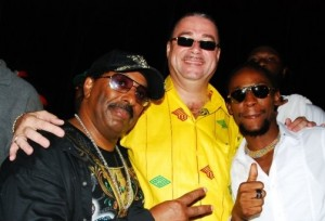 """HAPPIER TIMES - Barbados Prime Minister David Thompson in centre, Siccature """"Jah Cure"""" Alcock to the Left: Both victims of Facebook Forgery"""