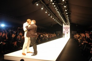 Comedians David Walliams and James Corden snogging at the end of the runway