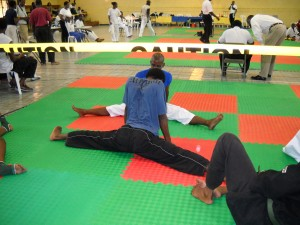 Martial Arts students hoping to do better splits than Van Damme at B'town Burning
