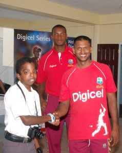 Seon Woods wishes Shiv Chanderpaul well for the Digicel ODI Series - Adrian Narine photo courtesy DigicelCricket.com