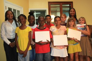 Sophie, Brandon, Gaby, Jhaved, Mickalia, Keilin, Charisma, Alexandra and Johanna attended the poetry reading, shared their poems and received their awards. Members of the Callaloo Poets also shared poems with the audience.