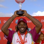 Chris Gayle is all smiles as he holds aloft the Digicel ODI Series trophy - Randy Brooks photo and DigicelCricket.com