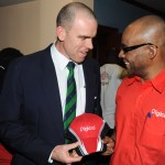 Digicel-sponsored Vice Captain, Trent Johnston, chats with Digicel Jamaica Head of Marketing, Donovan White