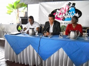 L to R - Ruel Ward of Pyramid Entertainment (B'dos), Tony Hoyos, Owner of the Plantation Garden Theatre and Beverley Layne, General Manager of the Plantation