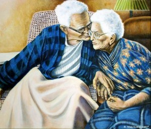 Celebrating senior love, the  brushes of the late Aubrey Cummins perfectly capture affection over decades