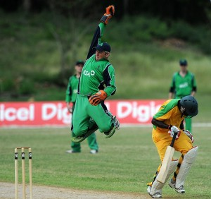Ireland's wicketkeeper effects an athletic save - DigicelCricket.com