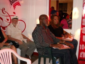 """Foreground: Rickey """"Mr Humility"""" Aimey and Lisa Howell - Judges for LIME Barbados Karaoke"""