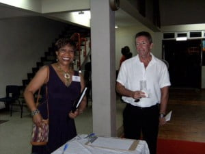 Dr. Sharon Marshall, alumna, and Mr. Wright, father of star athlete Matthew Wright.