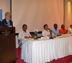 At the lectern: Dr David King addressing participants
