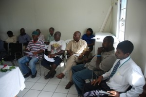 Members of the Nevis Sea Island Cotton Producers Co-operative and Agriculture personnel at the grant signing ceremony.