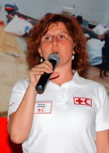 Pilar Forcen, Communications Manager of the Americas zonal office of the IFRC based in Panama making a point to participants