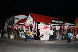Crowd outside Braddies Bar