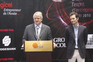 Digicel Entrepreneur of the Year Haiti 2010 launched: (L to R) Denis O'Brien, Chairman of Digicel and Chairman of the judging panel with Maarten Boute, CEO of Digicel Haiti