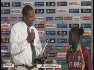 KITTITIAN (and NOT Barbadian) Sports Minister Glenn Phillip presents award to Deandra Dottin