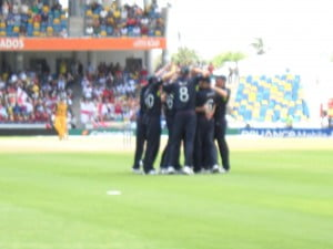 "The first wicket fell when the Aussies only got 2 runs! Cue in ""Darth Vader's Theme""?"