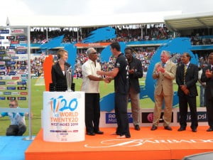 Seen here receiving his trophy from Sir Garry Sobers: Proven match-winner scores 248 runs at an average of 62