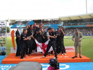 Don't know which was louder - the Champagne corks flying or the fireworks, look at the ICC official duck for cover, LOL!
