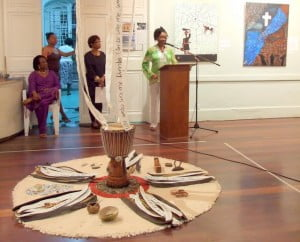 """The installation is called """"Name Sutra"""" from Juliana Inniss, not an incantation, but rather like a sand dollar - a natural pentacle {ALL PHOTOS COURTESY: Corrie Scott}"""