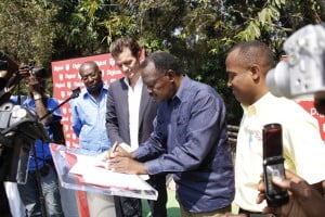 Digicel Haiti CEO, Maarten Boute, and President of the Haitian Football Federation, Yves Jean-Bart, sign the new contract