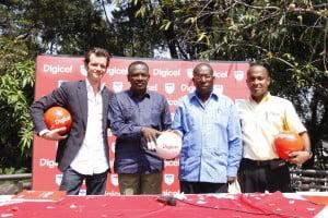Digicel Haiti CEO, Maarten Boute, and Digicel Haiti Sponsorship Manager, Jean Ronald Eliacin, with President of the Haitian Football Federation, Yves Jean-Bart, and Vice-President Julio Cadet