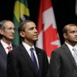 United States President Barack Obama standing next to Guyana's President Bharrat Jagdeo at the Opening Ceremony of the Fifth Summit of the Americas in Port of Spain, Trinidad and Tobago