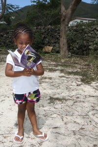 St Maarten child with a book