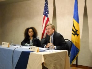 Ms Reynoso and Chargé d'affaires a.i. Brent Hardt in Wildey sharing with reporters & bloggers