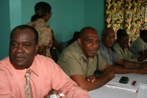 Inspector Andre Mitchel of the Royal St. Kitts and Nevis Police Force, Nevis Division (extreme left) with other senior officers including Head of the Nevis Police Division Superintendent Samuel Seabrookes (second from left) at the Symposium on Crime hosted by the Nevis Island Administration