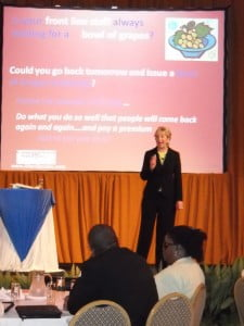 Teresa Allen recently addressing business leaders at Needham's Point