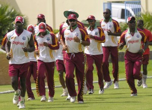 The West Indies team goes for a jog at the Sir Vivian Richards Cricket Ground - Randy Brooks photo and DigicelCricket.com