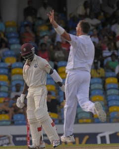 Dale Steyn celebrates the fall of Kemar Roach - Brooks La Touche Photography and DigicelCricket.com