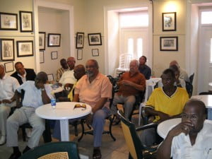Esteemed Barbadian author Orlando Marville among the folk who attended the lunchtime lecture at George Street