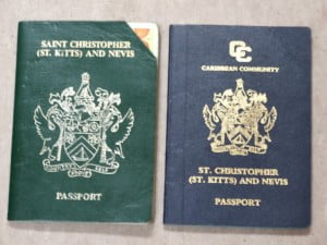 The green passport on the right was replaced by the blue CARICOM Passport. The clipped section at the top right of the green passport indicates that the owner upgraded to the machine readable ducoment on the right.