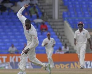 Shane Shillingford celebrates Hashim Amla's wicket - Brooks La Touche Photography and DigicelCricket.com