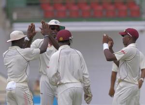 The Windies celebrate Alviro Petersen's wicket - Brooks La Touche Photography and DigicelCricket.com