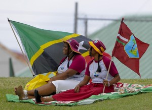 Two fans braved the weather to follow the action - Brooks La Touche Photography and DigicelCricket.com