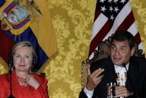 U.S. Secretary of State Hillary Rodham Clinton and Ecuador's President Rafael Correa attend a press conference at the presidential palace in Quito, Ecuador, June 8, 2010
